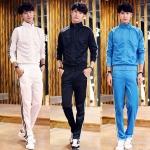 Pre Order ชุดวอร์มออกกำลังกาย ดีไซน์ Sport เสื้อแจ็คเก็ตแขนยาวแต่งแถบข้าง+กางเกงขายาว มี5สี