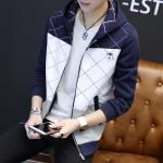 Pre Order เสื้อแจ็คเก็ตแขนยาว สีทูโทนมี HOOD สไตล์เกาหลี มี2สี