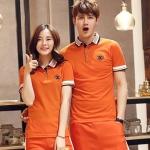 Pre Order ชุดเสื้อโปโลคู่รักสไตล์เกาหลี เสื้อแขนสั้นคอปก แต่งขอบ พิมพ์ลายอักษร มี3สี