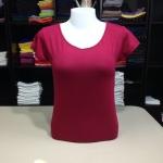 """เสื้อยืดคอกลม สีแดงโรส size """"M"""""""