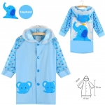 เสื้อกันฝนสำหรับเด็กสีฟ้าลายช้าง