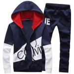 Pre Order ชุดวอร์มกันหนาว เสื้อแขนยาวพิมพ์ลายสีทูโทนมีHOOD +กางเกงขายาว มี3สี
