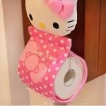 ที่ใส่กระดาษทิชชู่ม้วน ฮัลโหลคิตตี้ Hello kitty ขนาด 31*13 ซม. ลายหน้าคิตตี้โบว์ชมพู สีชมพู