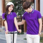 Pre Order เสื้อโปโลคู่รักแฟชั่น สไตล์เกาหลี แต่งลายคลาสสิก สีม่วง