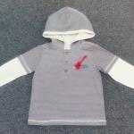 ฺBSH-256 (18-24M) เสื้อ Child Rep มี Hood ตัดต่อสีกรมท่า-ขาว ปักลายกีต้าร์ Little Rock Star