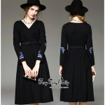 Luxurious Embroidered Smart Black Dress