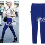 ##พร้อมส่ง## กางเกงขายาว ทรงฮาเรม ผ้าโพลิเอสเตอร์ สีน้ำเงิน