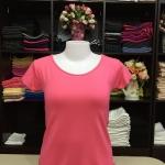 """เสื้อยืดคอกลม สีชมพูโอรส size """"M"""""""