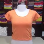 เสื้อยืดครึ่งตัว สีส้มอ่อน