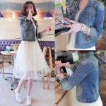 Pre Order เสื้อแจ็คเก็ตยีนส์แฟชั่นเกาหลี แขนยาวคอปก แนวสาวใสสุดชิค สีตามรูป