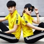 Pre Order ชุดวอร์มเกาหลี เสื้อแขนสั้นคอปกแต่งซิป+กางเกงขายาวแถบข้าง มี3สี