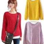 Pre Order - เสื้อกันหนาวแฟชั่น คอกลม หนาวกำลังดี เหมาะกับบ้านเรา หลายสี สี : สีเหลือง / สีกุหลาบ / สีฟ้า / สีแดง / สีม่วง / สีเบจ / สีเขียว