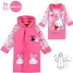 เสื้อกันฝนสำหรับเด็กสีชมพูลายกระต่าย