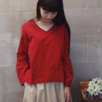 Pre Order เสื้อเชิ้ตผ้าฝ้าย+ลินิน แขนยาวคอ V ปักลาย สไตล์ญี่ปุ่น