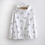 เสื้อคลุมมีฮู๊ด ผ้าแคนวาสสีขาว พิมพ์ลายการ์ตูนแมว