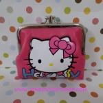 กระเป๋าใส่เศษสตางศ์ใบกลาง คิตตี้ kitty ขนาดยาว 10 ซม.* สูง 8 ซม. ลายหน้าคิตตี้โบว์ พื้นสีชมพู