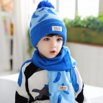 Tutuya เซทหมวกไหมพรม หมวกกันหนาวพร้อมผ้าพันคอเข้าชุด สีฟ้า