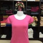"""เสื้อยืดคอกลม สีชมพูหวาน size """"M"""""""