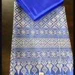 ผ้าไหมสังเคราะห์ทอเครื่อง ตัดชุดโทนสีฟ้าและน้ำเงิน