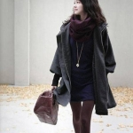 PreOrderไซส์ใหญ่ - เสื้อกันหนาวไซส์ใหญ่ คนอ้วน ทำด้วยผ้าฝ้ายผสม ข้างในเป็นขนสัตว์ สีดำ
