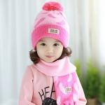 Tutuya เซทหมวกไหมพรม หมวกกันหนาวพร้อมผ้าพันคอเข้าชุด สีชมพู