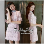 Flowers Smart Chic Pink Lace Dress