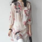 Pre Order เสื้อผู้หญิงตัวยาวแฟชั่นเกาหลี แขนยาวห้าส่วน พิมพ์ลายดอกไม้ มี2สี