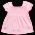 GSH-416 (12M,18M,2Y) เสื้อ Mini Boots & Baby Boots สีชมพู จับสม็อคดึงยางบ่าหน้า ปักลายดอกไม้สีชมพู-ฟ้า-เหลือง