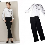 PreOrderคนอ้วน - เซตคู่แฟชั่น เสื้อเชิ้ต-กางเกงขายาว 2 ชิ้น เสื้อเชิ้ตขาวดีไซน์ใหม่แขนยาวสีขาว กางเกงเอวสูงสีดำ