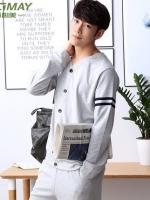 ชุดนอนคอVสีเทาเกาหลี เสื้อแขนยาว+กางเกงขายาว