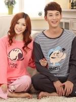 Pre Order ชุดนอนคู่รักแฟชั่น เสื้อคอกลมแขนยาวลายขวาง+กางเกงขายาว สีตามรูป