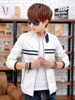 Pre Order เสื้อแจ็คเก็ตแฟชั่นเกาหลี แขนยาว คอตั้ง แต่งแถบคาดอก มี3สี
