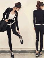 Pre Order ชุดออกกำลังกายเกาหลี เสื้อผ้ายืดแขนยาว+กางเกงขายาวดีไซน์เก๋ สีตามรูป