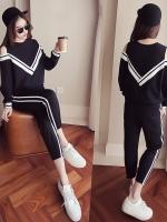 Pre Order ชุดวอร์มแฟชั่นเกาหลี เสื้อแขนยาวแต่งลายแถบ+กางเกงขายาว มี2สี