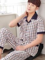 Pre Order ชุดนอนชายแฟชั่นเกาหลี เสื้อคอปกแขนสั้นลายตาราง+กางเกงขายาว สีตามรูป
