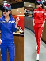Pre Order ชุดวอร์มแฟชั่นเกาหลี เสื้อแจ็คเก็ตแขนยาวแต่งลายแถบ+กางเกงขายาว มี4สี