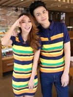 Pre Order ชุดคู่รักเกาหลี เสื้อโปโลแขนสั้นลายขวาง+เดรสเข้ารูปลายขวางแขนตุ๊กตา สีตามรูป