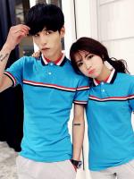 Pre Order ชุดคู่รักเกาหลี เสื้อโปโลแขนสั้นคอปก แต่งลายคาดอก ดีไซน์คลาสสิก มี4สี