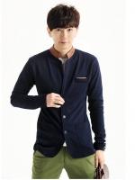 Pre Order เสื้อแจ็คเก็ตผู้ชาย ดีไซน์กระดุมหน้า แต่งขอบหนังที่กระเป๋าและคอ สไตล์เกาหลี มี3สี