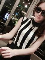 Pre Order เสื้อแขนกุดแฟชั่นเกาหลี คอสูงแต่งลายทาง ลุคเซ็กซี่ มี3สี