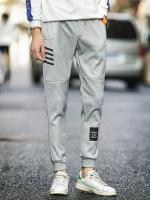 Pre Order กางเกงวอร์มชาย เทรนด์เกาหลี สกรีนลาย มีกระเป๋า มี3สี