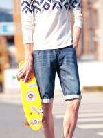 กางเกงยีนส์ขาสั้นเกาหลี สีน้ำเงิน แต่งลายคลื่น ดีไซส์พับปลายขอบ