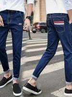 Pre Order กางเกงยีนส์แฟชั่นเกาหลี ทรงเดฟพับขอบ กระเป๋าหลังแต่งแถบสี มี2สี
