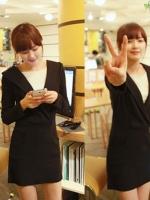 ++สินค้าพร้อมส่งค่ะ++ชุดเดรสเกาหลี แขนยาว มี hood ดีไซด์เก๋ ด้านหน้าเป็นเหมือนใส่เสื้ออีกตัว เนื้อผ้าดีมากๆ ค่ะ – สีดำ