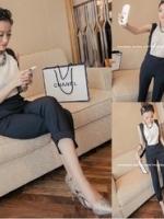 Pre Order จั้มสูทชีฟองทูโทนสไตส์เกาหลี เสื้อแขนกุด กางเกงขายาว