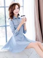 Pre Order ชุดเดรสผ้ายีนส์แฟชั่นเกาหลี แขนยาวคอปก แต่งกระเป๋าหน้าสองข้าง มี2สี