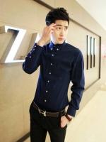 Pre Order เสื้อเชิ้ตผู้ชายเกาหลี แขนยาวคอปก สีพื้น ดีไซน์เท่ห์ มี5สี