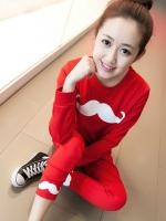 Pre Order ชุดวอร์มเกาหลี เสื้อยืดคอกลมแขนยาว สกรีนลายหนวด+กางเกงขายาว มี5สี