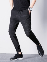 Pre Order กางเกงผู้ชายแฟชั่นเกาหลี แนวสปอร์ต ขายาวลายพราง มีเชือกผูกเอว มี4สี