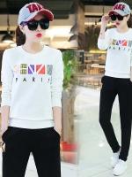 Pre Order ชุดวอร์มแฟชั่นเกาหลี เสื้อแขนยาว+กางเกงขายาว พิมพ์ลาย มี3สี